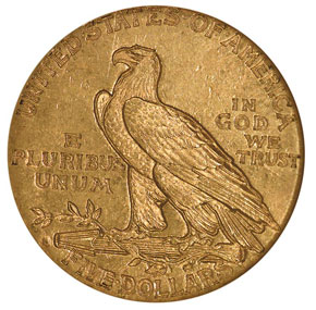1910 S $5 MS reverse
