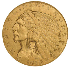 1912 $5 PF obverse