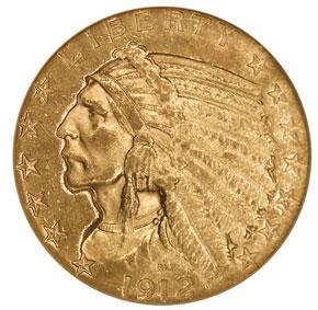 1912 S $5 MS obverse