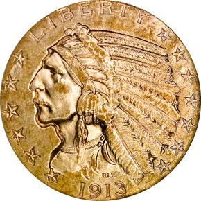 1913 S $5 MS obverse
