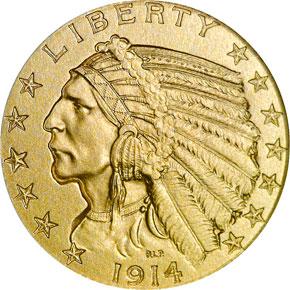 1914 $5 PF obverse