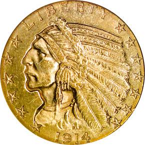 1914 S $5 MS obverse