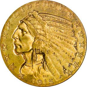 1915 S $5 MS obverse