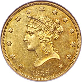 1838 $10 MS obverse