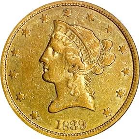 1839 SM LET HEAD OF 40 $10 MS obverse