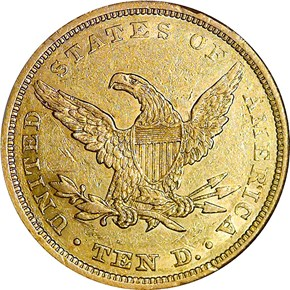 1842 SMALL DATE $10 MS reverse