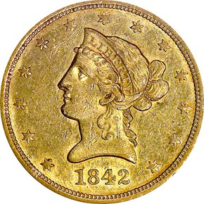 1842 LARGE DATE $10 MS obverse
