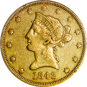 1842 O $10 MS obverse