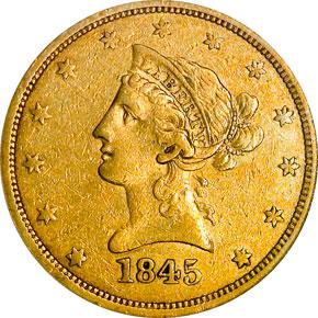 1845 O $10 MS obverse