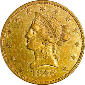 1846 $10 MS obverse