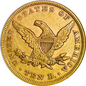 1851 $10 MS reverse