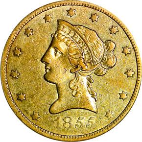 1855 O $10 MS obverse