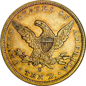 1857 S $10 MS reverse