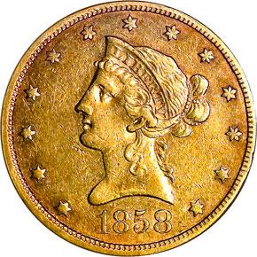 1858 $10 MS obverse