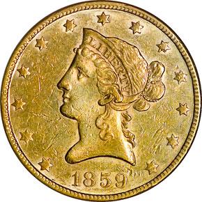 1859 $10 MS obverse