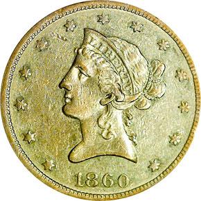 1860 O $10 MS obverse