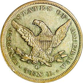 1860 O $10 MS reverse
