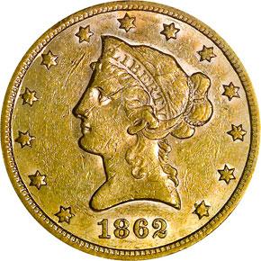 1862 S $10 MS obverse