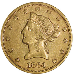 1864 $10 MS obverse