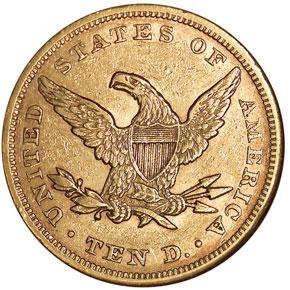 1864 $10 MS reverse