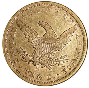 1864 S $10 MS reverse