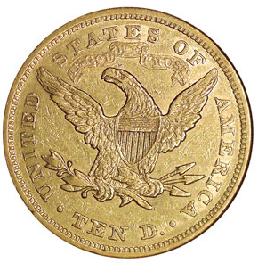 1866 MOTTO $10 MS reverse