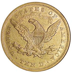 1866 MOTTO $10 MS reverse
