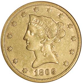 1866 S MOTTO $10 MS obverse