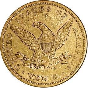 1866 S MOTTO $10 MS reverse