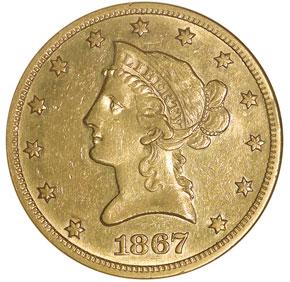 1867 $10 MS obverse