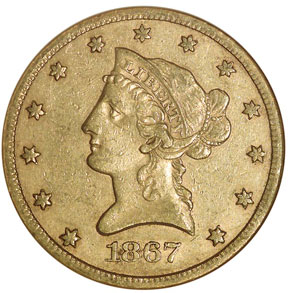 1867 S $10 MS obverse