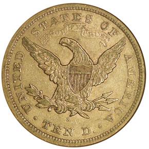 1867 S $10 MS reverse