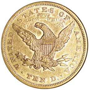 1868 S $10 MS reverse