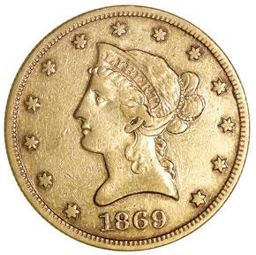 1869 $10 MS obverse