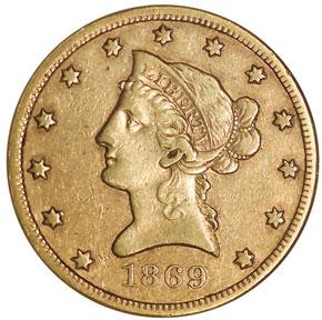 1869 S $10 MS obverse