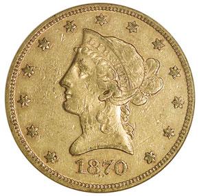 1870 $10 MS obverse