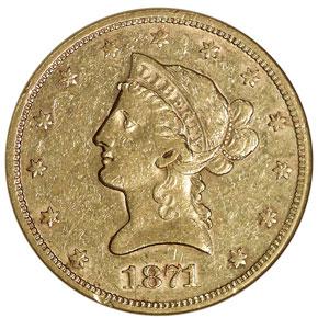 1871 S $10 MS obverse