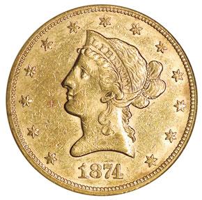 1874 $10 MS obverse