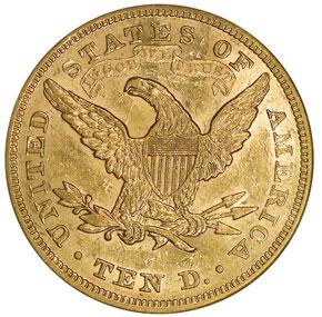 1874 $10 MS reverse