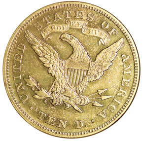 1875 $10 MS reverse
