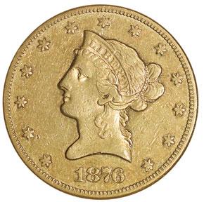 1876 CC $10 MS obverse