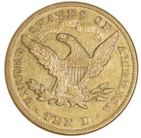 1876 CC $10 MS reverse