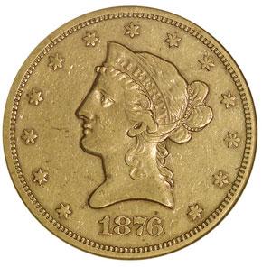 1876 S $10 MS obverse