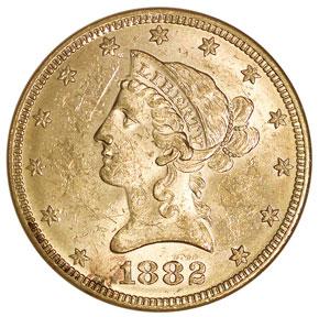 1882 $10 MS obverse