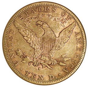 1883 S $10 MS reverse