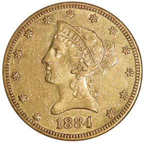 1884 $10 MS obverse