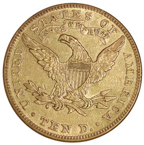 1884 $10 MS reverse