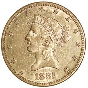 1885 S $10 MS obverse