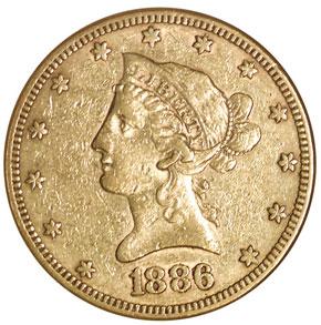 1886 $10 MS obverse