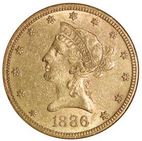 1886 S $10 MS obverse